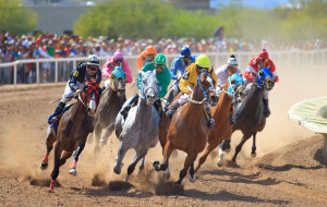 Racers Riding at Rillito Park Racetrack
